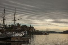 Oslo-fjord, ships and the skies. Royalty Free Stock Photos