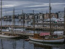 Oslo - boats on the waters of the fjord in the evening. Royalty Free Stock Photo