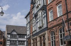Chester, England - houses on a sunny day. This image shows a view of some houses in Chester, England, the UK. It was taken on a bright sunny day in April 2018 Stock Photos