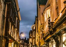 York, Yorkshire; lights at night. The image shows a view of York, Yorkshire, England. It was taken on a clear day in December 2017, at night Royalty Free Stock Photography