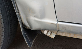 Image of side view of a crashed car. Image of side view of a crashed car royalty free stock photos
