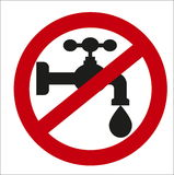 Image sign of the ban on the tap water Stock Image