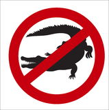 Image sign of the prohibition of crocodiles. Vector image sign of the prohibition of crocodiles Stock Images