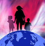 Image of silhouettes girls, boy and women against the globe. Stock Images