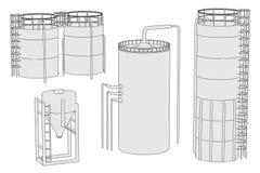 Image of silos set Royalty Free Stock Photos