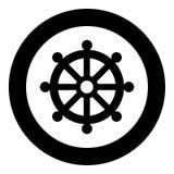 Image simple de signe de loi de roue de budhism de symbole d'icône de noir de couleur d'illustration religieuse de vecteur illustration stock