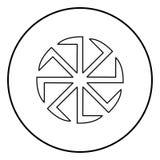Image simple de slavonis de symbole de Kolovrat de signe du soleil d'icône de noir de couleur d'illustration slave de vecteur illustration stock
