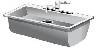 Single Basin Stainless Steel Kitchen Sink. An image of a Single Basin Stainless Steel Kitchen Sink isolated on white Stock Photography