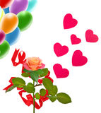 image single rose, balloons and hearts as a symbol of love and celebration Stock Photo