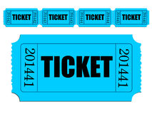 Image of single ticket and strip of tickets. Illustration of single ticket and strip of tickets royalty free illustration