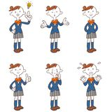 .Six kinds of girls` poses and gestures whole body stock illustration