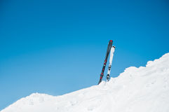 Image of skis on slope, on winter resort Royalty Free Stock Photos