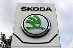 An image of a skoda logo - Bielefeld/Germany - 07/23/2017. Abstract Royalty Free Stock Images