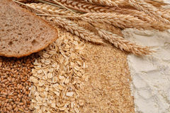Image of a slice of bread with fresh ears wheat, dry beans of wh Stock Photo