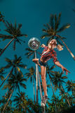 Image of slim graceful pole dancer Royalty Free Stock Images