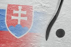 Image of Slovak flag and hockey stick with puck royalty free stock photography