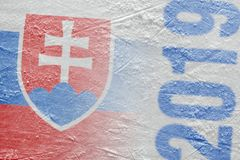 Image of the Slovak flag on the ice hockey arena stock image