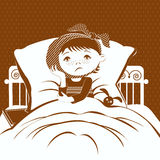 The image of a small child with a compress on a sore ear, lying in bed. Royalty Free Stock Photo