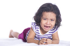 Image of Small child is crying hard on white background Stock Image