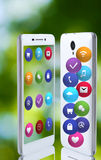 Image of smartphone and icons closeup Royalty Free Stock Photo