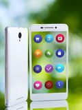 Image of smartphone and icons closeup Stock Photos