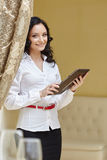 Image of smiling business woman at lunch Stock Photography