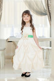Image of smiling girl posing in long smart dress Stock Photography