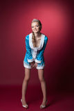Image of smiling Snow Maiden posing in studio Royalty Free Stock Photography