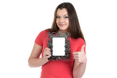 Image of smiling teenage girl with photo frame. On white background Royalty Free Stock Images