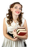 Image of the smiling woman with books Royalty Free Stock Photos