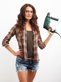 Image of smiling woman with drill over white background Royalty Free Stock Photos