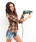 Image of smiling woman with drill over white background Royalty Free Stock Photo