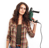 Image of smiling woman with drill over white background Royalty Free Stock Images