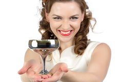 Image of smiling woman with metal snifter Royalty Free Stock Photography