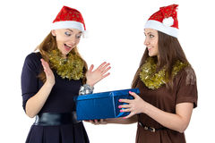 Image of smiling women with the gift Royalty Free Stock Images