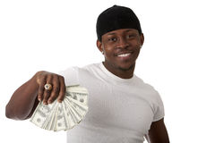 Image of  smiling young man. With dollars Royalty Free Stock Image