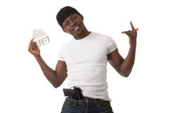 Image of  smiling young man. With dollars Stock Image