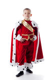 Image of smug little king isolated on white Stock Photography