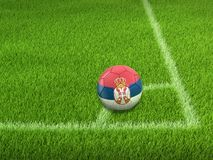 Soccer football with Serbian flag. Image of Soccer football with Serbian flag stock photo