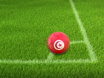 Soccer football with Tunisian flag. Image of Soccer football with Tunisian flag royalty free stock photo