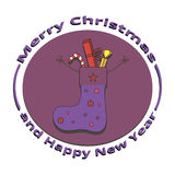 Image sock with gifts on Christmas and New Year. On a white background Royalty Free Stock Images