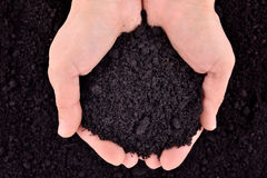 Soil in hands Royalty Free Stock Images