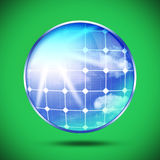 Image of solar panels on green background. Royalty Free Stock Photos