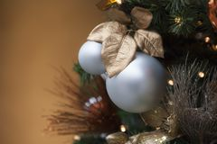 Christmas balls with a brown background Royalty Free Stock Photo