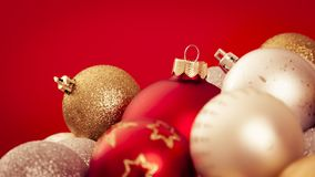 Christmas balls with a red background Stock Images