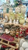 Christmas accessories - color, happy, seasonal gifts. Image of some Christmas gifts - seasonal accessories, specific winter animals, owls, reindeer, rabbits royalty free stock photography