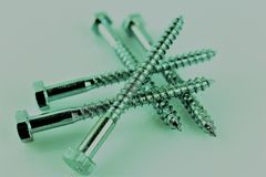 An Image of some screws, with copy space. Construction, tool - abstract Stock Images