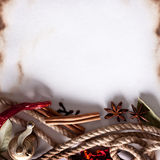 Image space of paper with cooking spices Royalty Free Stock Photo