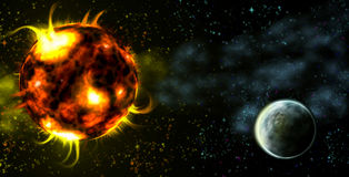 An image of a space with planet and hot star. Illustration Stock Photography
