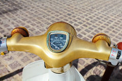 Image of a speedometer on a retro japanese Scooter Stock Photo